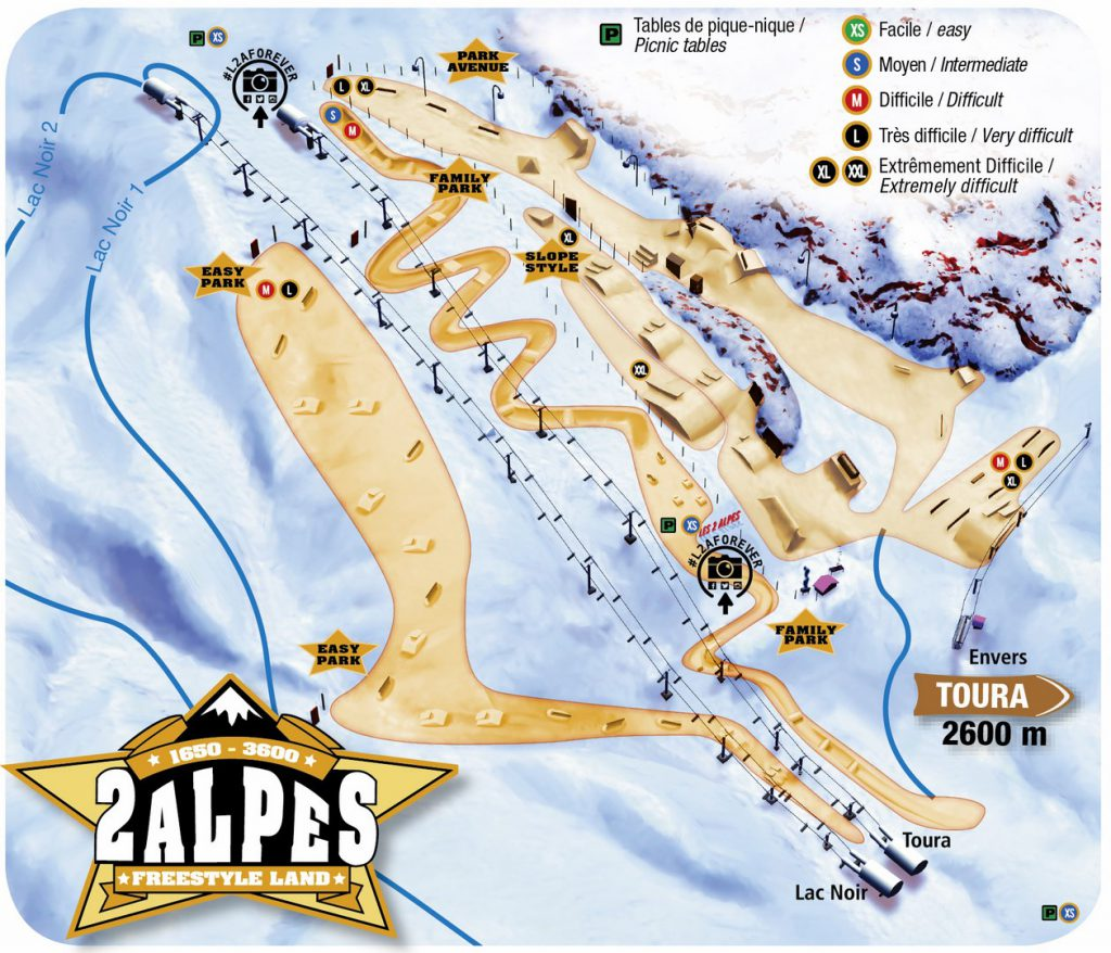 les 2 alpes mapa snowpark