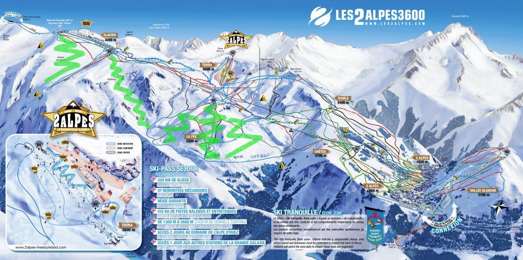 les 2 alpes mapa strediska